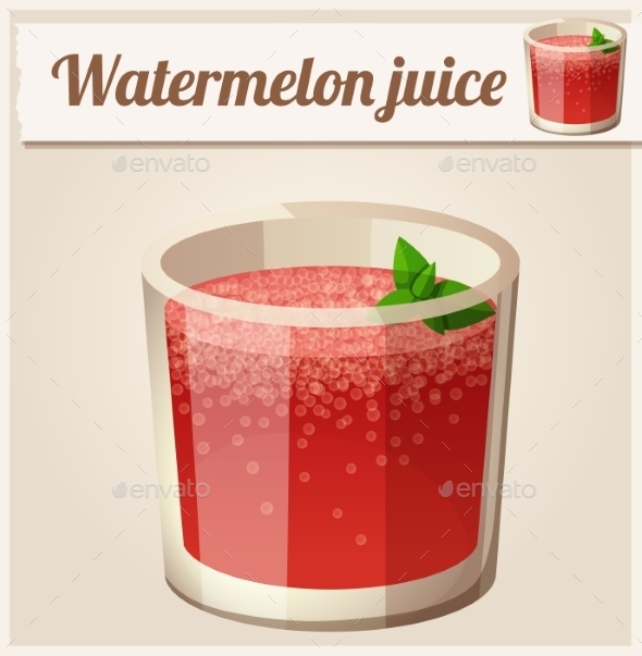 Watermelon Juice. Detailed Vector Icon.