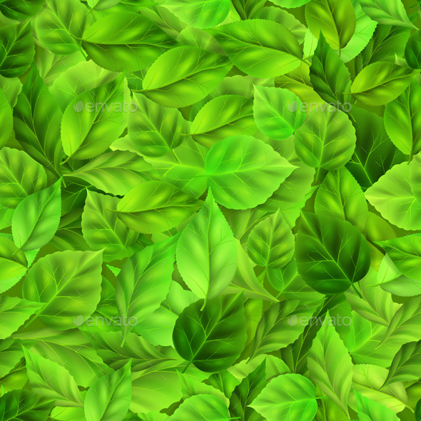 GraphicRiver Green Leaves Pattern 10685207