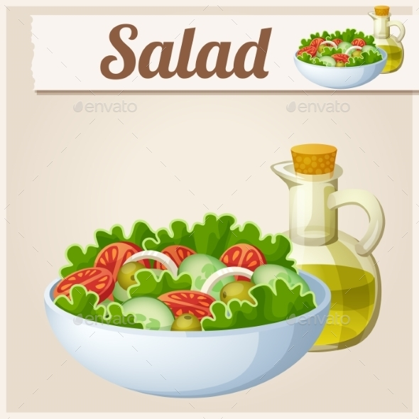 GraphicRiver Fresh Salad with Olive Oil Detailed Vector Icon 10685209