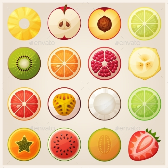 GraphicRiver Set of Fruit Halves 10685248