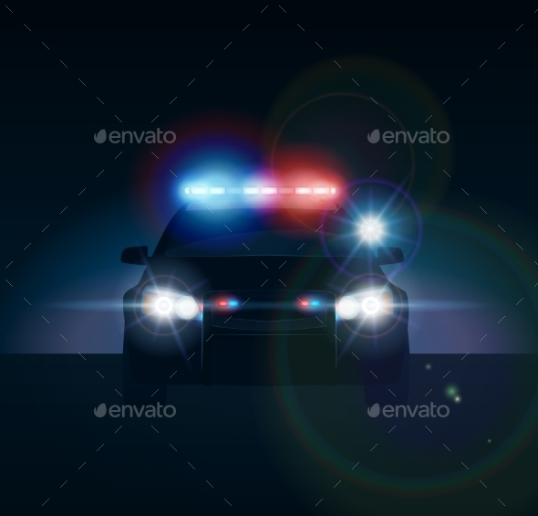 GraphicRiver Police Car at Night 10685334