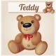 Teddy Bear with Red Bow. - GraphicRiver Item for Sale