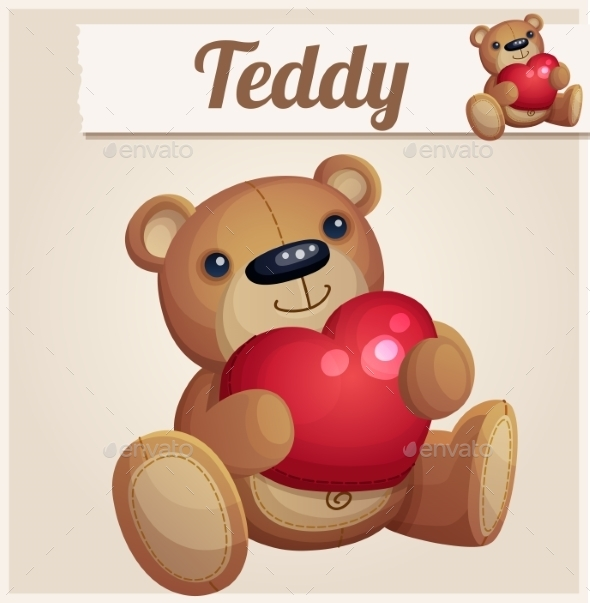 GraphicRiver Teddy Bear with Red Heart 10685357