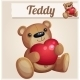 Teddy Bear with Red Heart.  - GraphicRiver Item for Sale