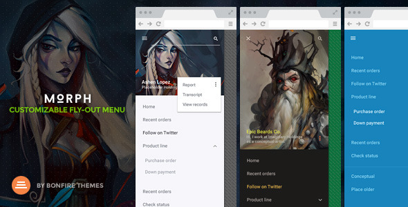 CodeCanyon Morph Customizable Fly-Out WordPress Menu 10685700