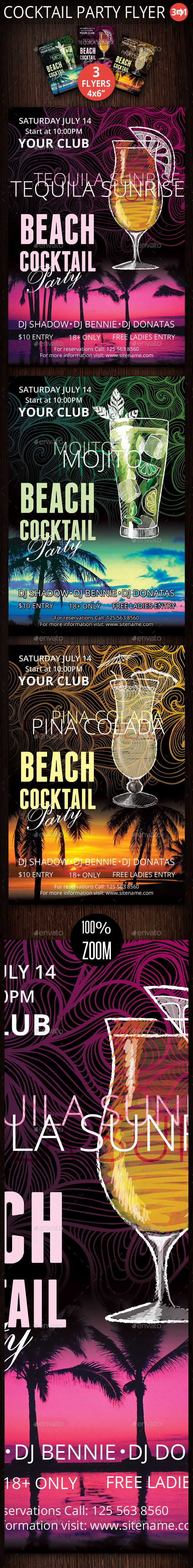 GraphicRiver Three Cocktail Party Flyer 10616986