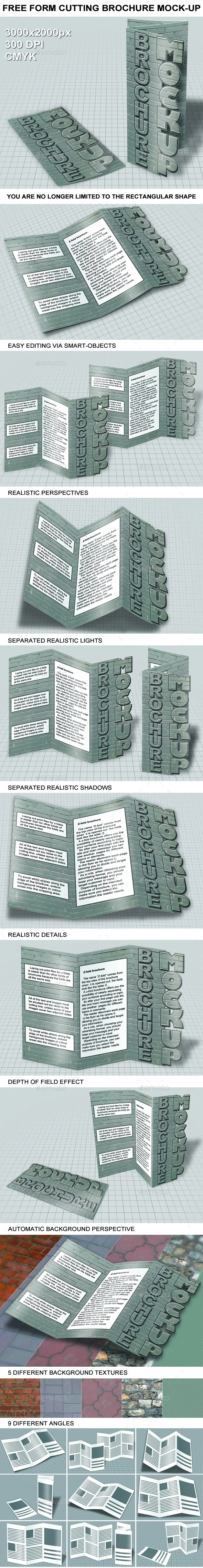 GraphicRiver Free Form Cutting Brochure Mockup 10685855
