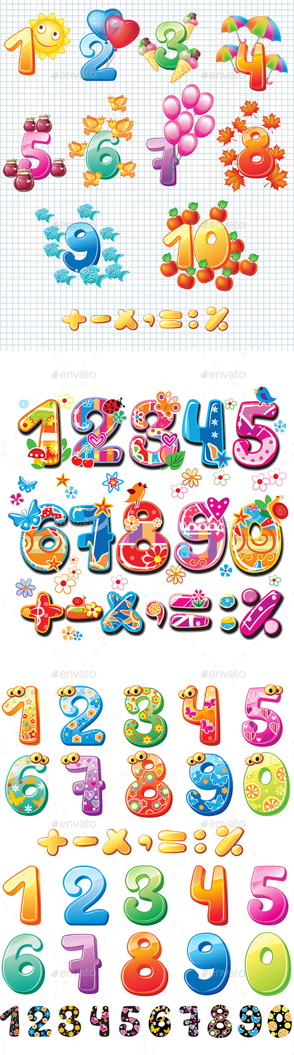 GraphicRiver Colorful Numbers for Children 10685898