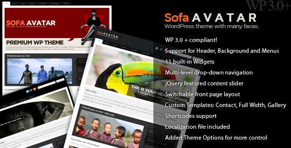 Sofa Avatar - WP Theme with many faces -