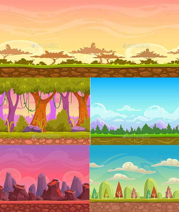 GraphicRiver 2D game background 5 vector 10582503