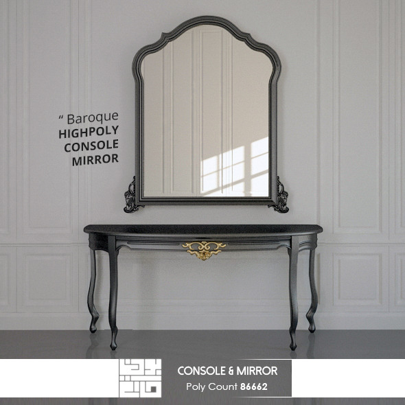 3DOcean Console And Mirror Baroque 3D Model 10687275