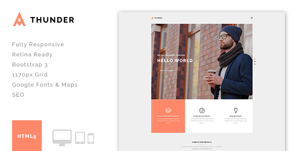 ThemeForest Thunder Minimal Agency Portfolio HTML5 Template 10658438