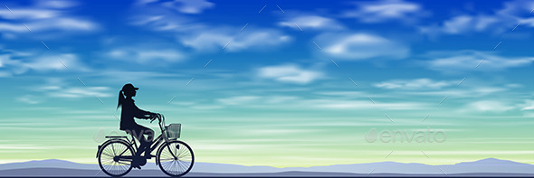 GraphicRiver Girl on a Bicycle 10688332