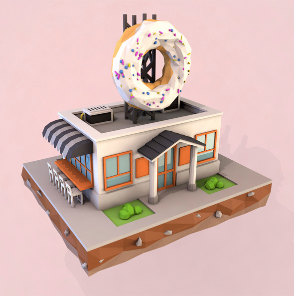 3DOcean Low Poly Cafe 10688352