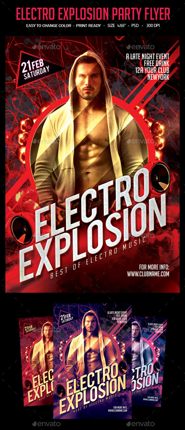 GraphicRiver Electro Explosion Party Flyer 10688446