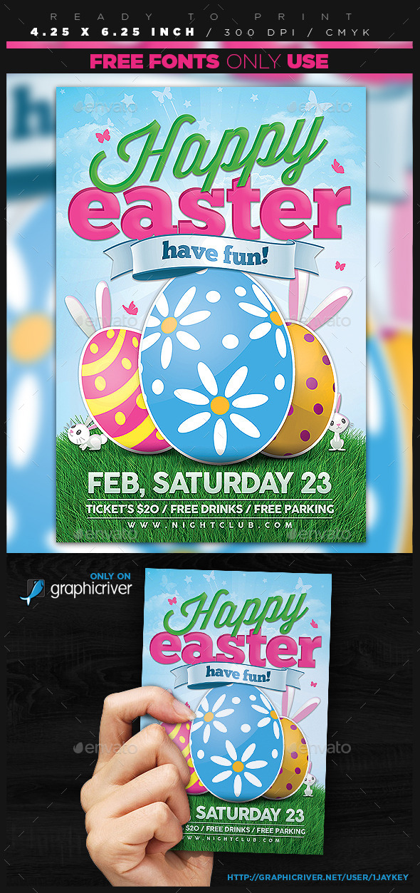 GraphicRiver Happy Easter Event Flyer 10688914