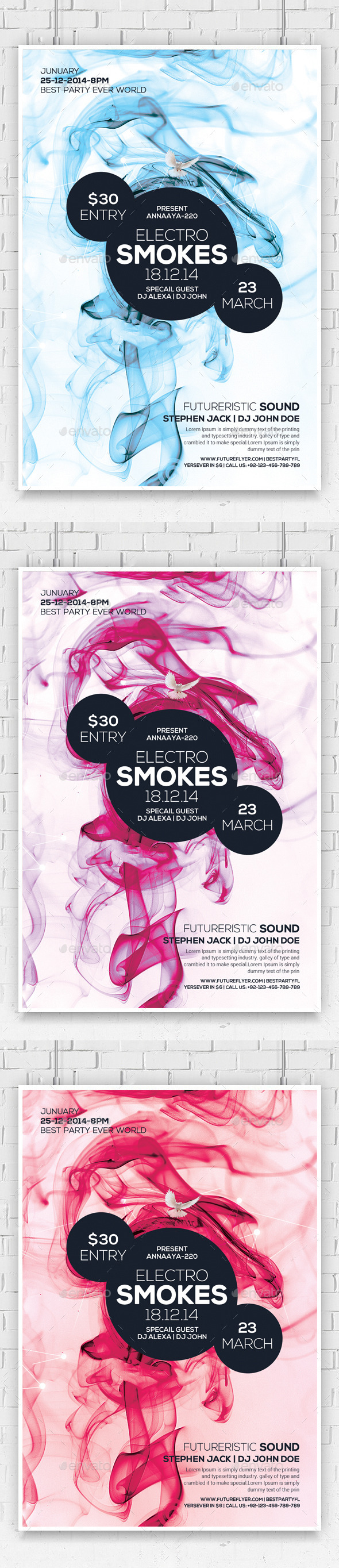 GraphicRiver Electro Color Sounds Party Flyer 10689162