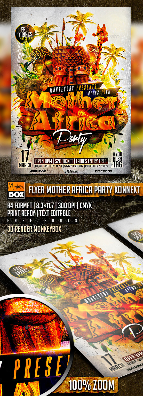 GraphicRiver Flyer Mother Africa Party Konnekt 10690058