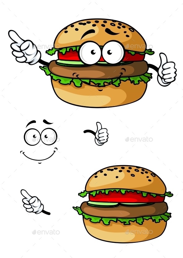 GraphicRiver Cartoon Hamburger Character 10690059