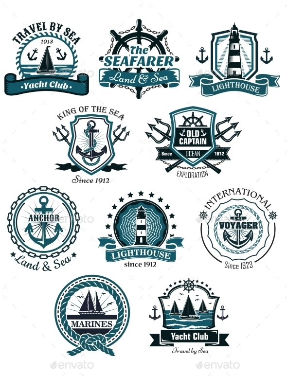 GraphicRiver Marine Emblems and Banners 10690062