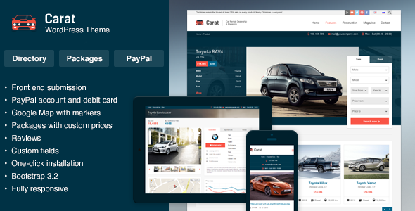 Carat - Automotive Listing WordPress Theme