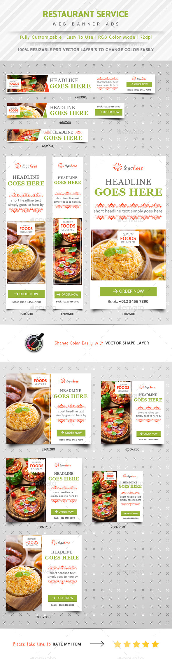 GraphicRiver Restaurant Service Web Banner Ads 10690283