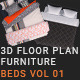 3D Floorplan Furniture Beds Vol01 - GraphicRiver Item for Sale