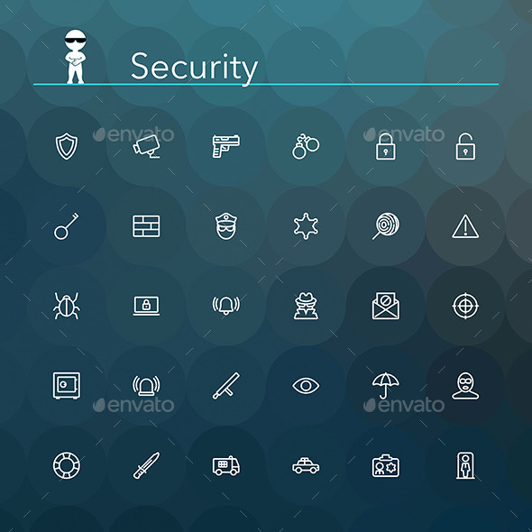 GraphicRiver Security Line Icons 10690905