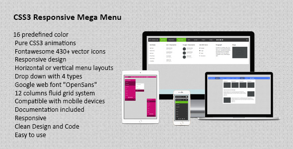 CodeCanyon CSS3 Responsive Mega Drop Down Menu 10690936