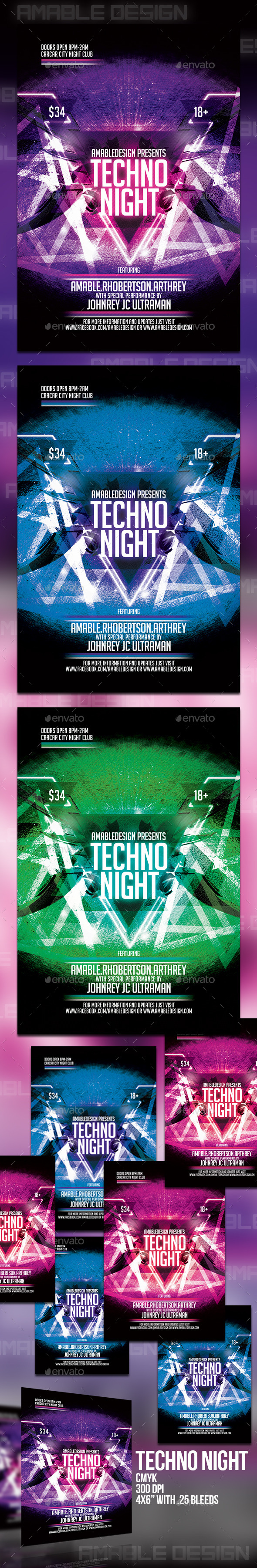 GraphicRiver Techno Night Flyer 10691060