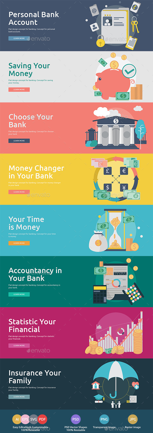 GraphicRiver Flat Concept Banners for Finance 10691798