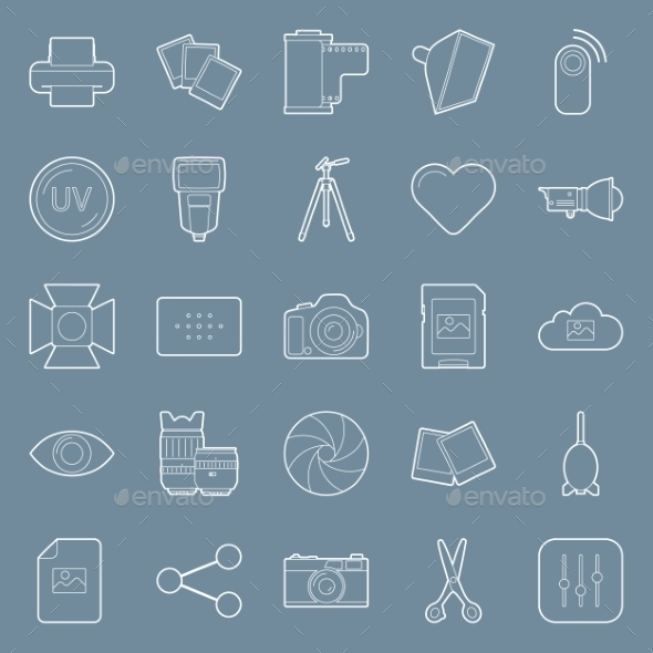 GraphicRiver Photo Equipment Line Icons 10692799