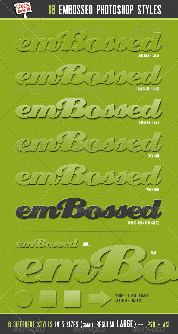 emBossed - 18 Photoshop Layer Styles - Text Effects Styles