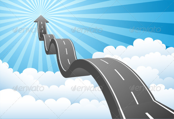 Arrow Road Through the Clouds - Business Backgrounds