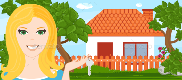 GraphicRiver Young Woman with a New House 10694190