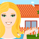 Young Woman with a New House - GraphicRiver Item for Sale