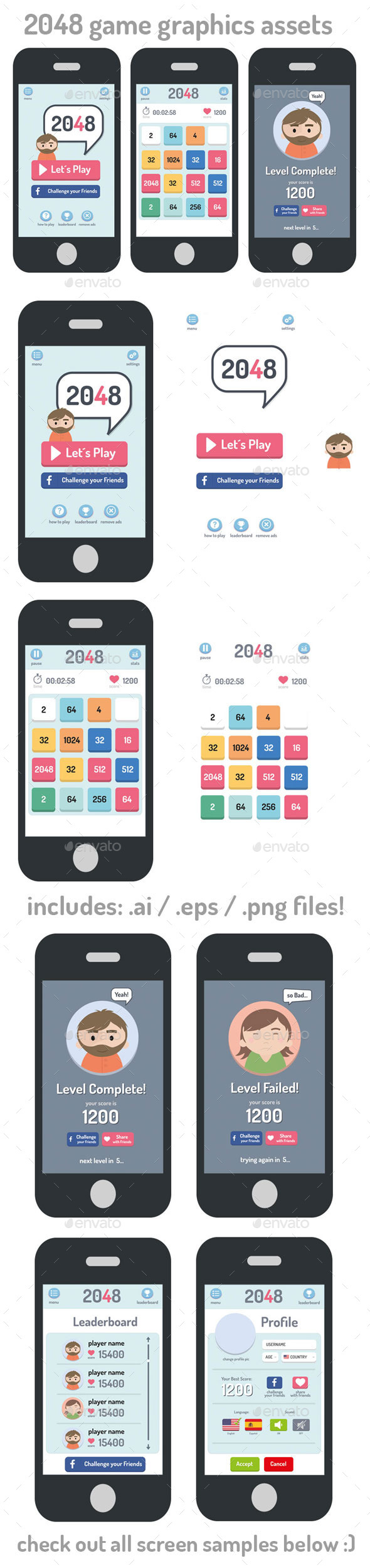 GraphicRiver 2048 Game Style Gui Assets 10694316