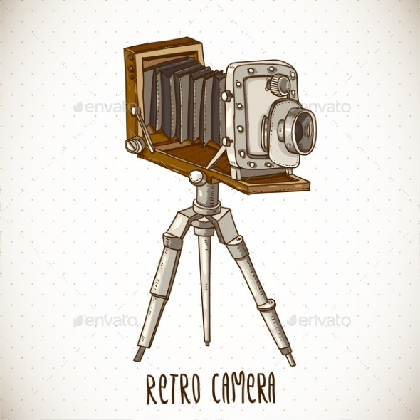 GraphicRiver Vintage Card with Retro Camera 10694371