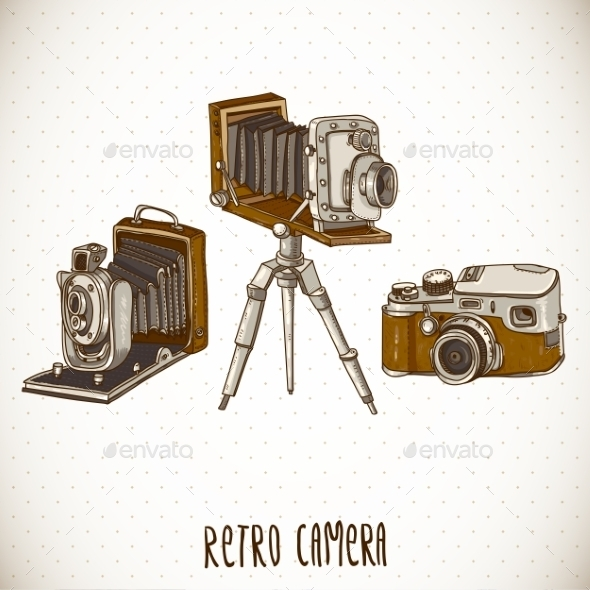 GraphicRiver Set of Vintage Retro Cameras 10694386