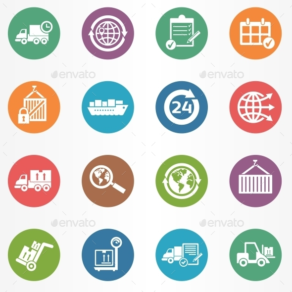 GraphicRiver Logistics Circle Icons 10694409