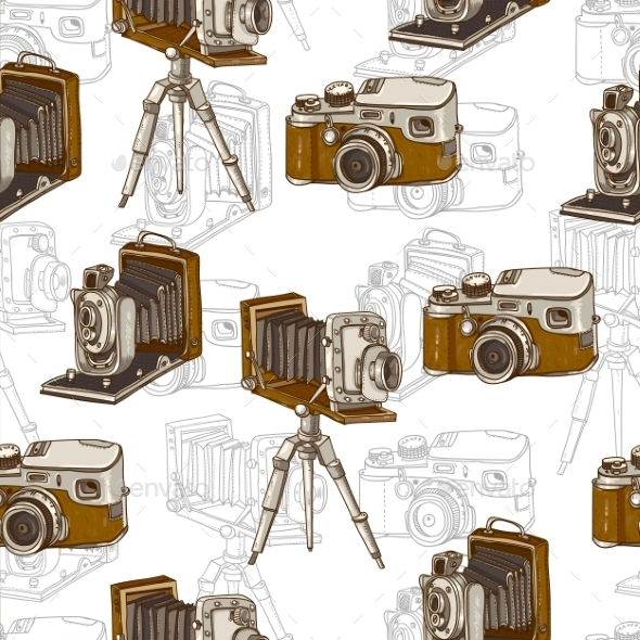 GraphicRiver Vintage Seamless Background with Retro Cameras 10694585