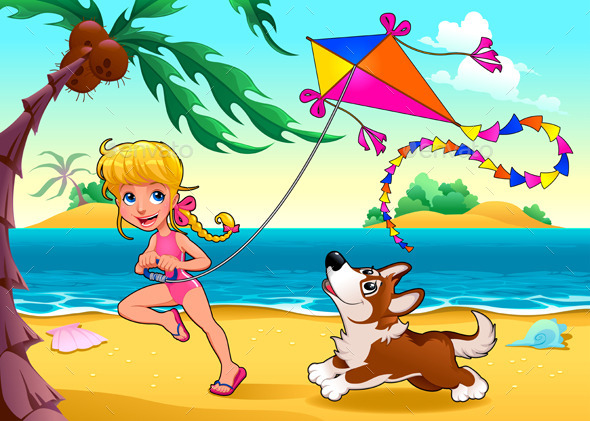 GraphicRiver Girl and Dog on the Beach 10695066