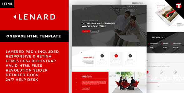 ThemeForest Lenard Onepage Business Responsive Site Template 10695308