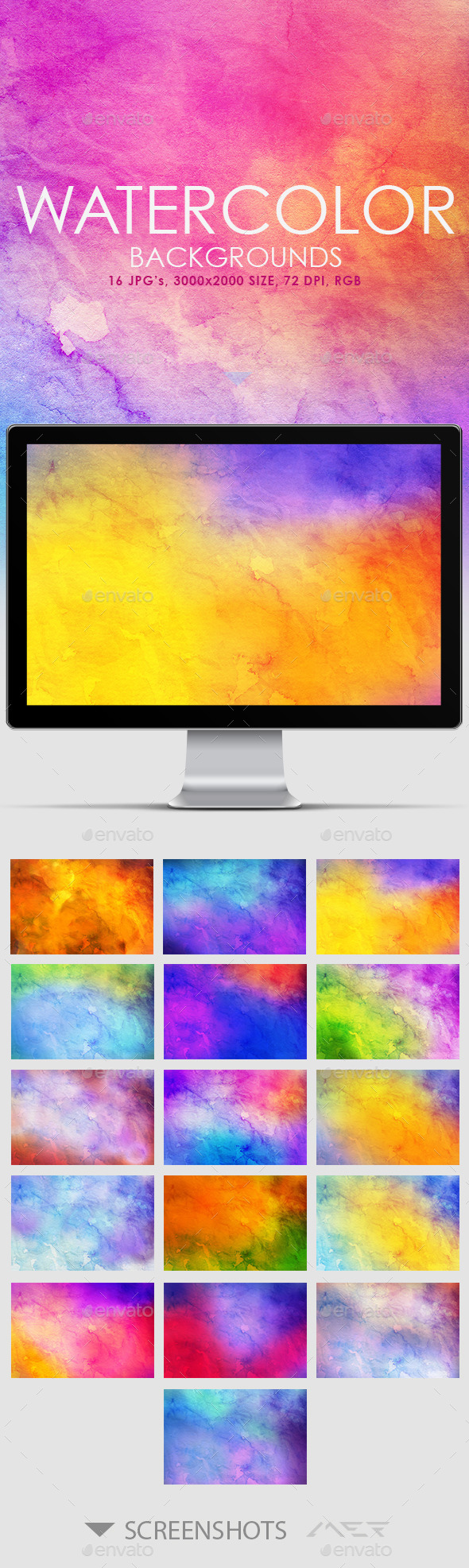 GraphicRiver 16 Watercolor Backgrounds 10695362