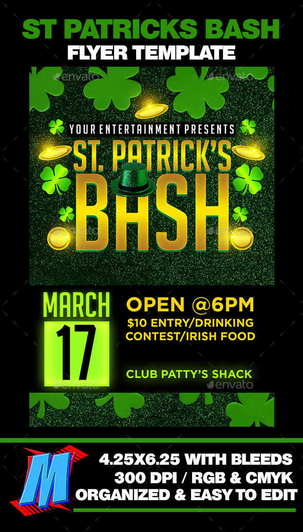 GraphicRiver St Patricks Bash Flyer Template 10695630