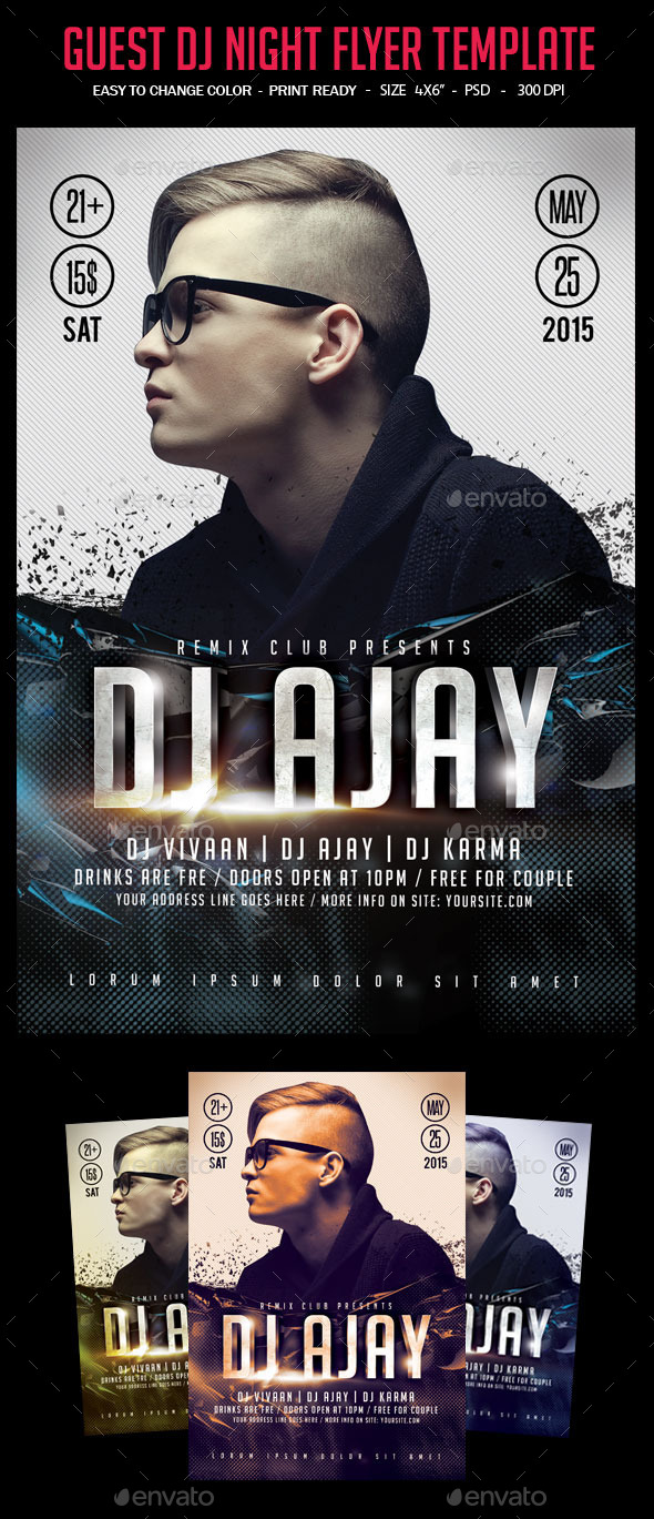 GraphicRiver Guest Dj Night Party Flyer Template 10695644