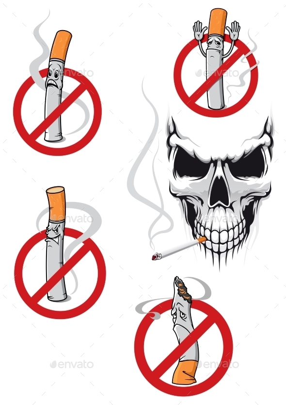 GraphicRiver No Smoking Sign and Skull 10695692