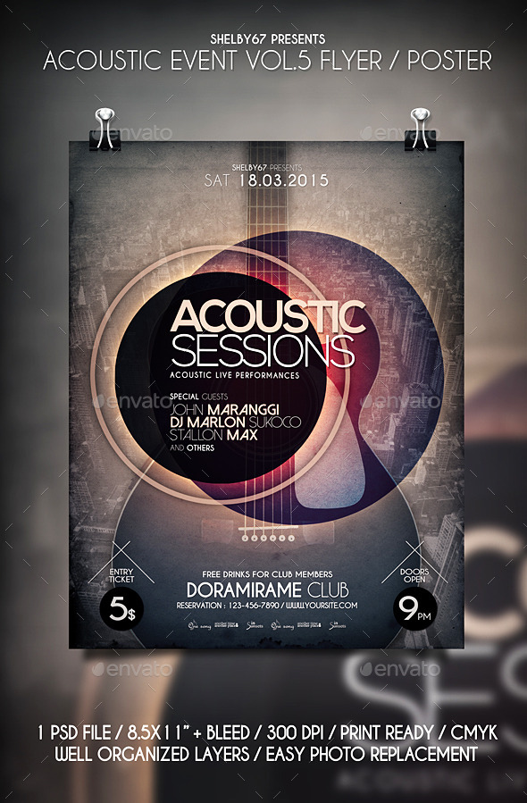 GraphicRiver Acoustic Event Flyer Poster Vol.5 10624071