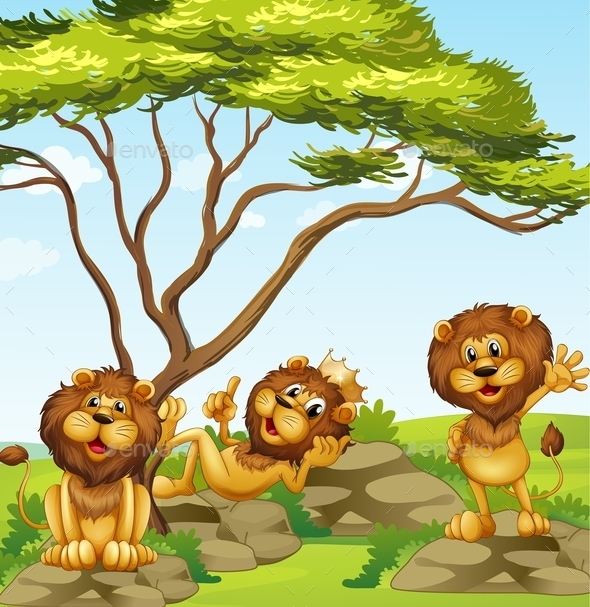 GraphicRiver A Group of Lions 10695798