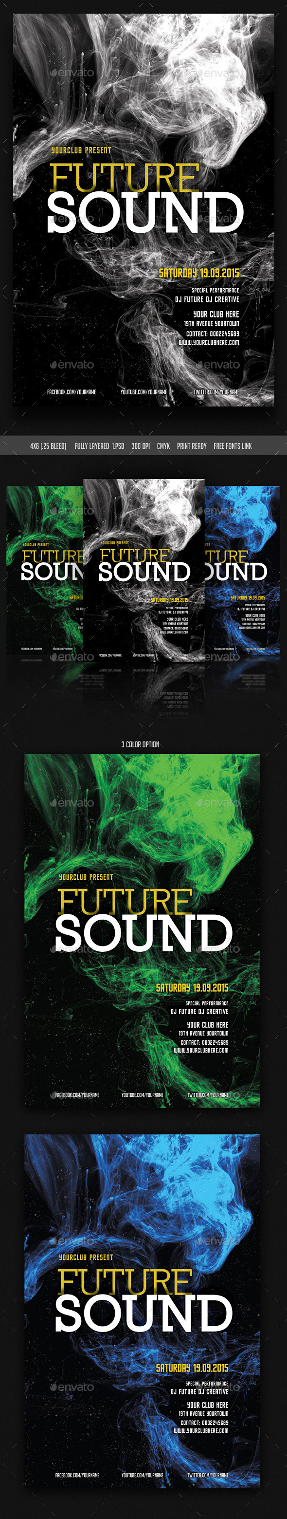GraphicRiver Future Sound Flyer 10695854